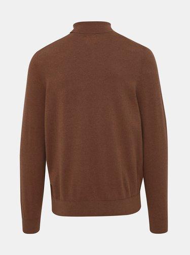 Hnědý basic svetr s rolákem Burton Menswear London