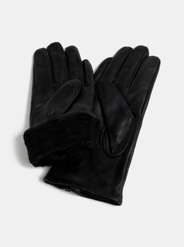 Čierne kožené rukavice VERO MODA Finna