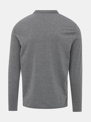 Šedé basic polo tričko Burton Menswear London