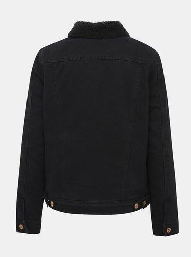 Čierna rifľová bunda s umelým kožúškom ONLY Billy