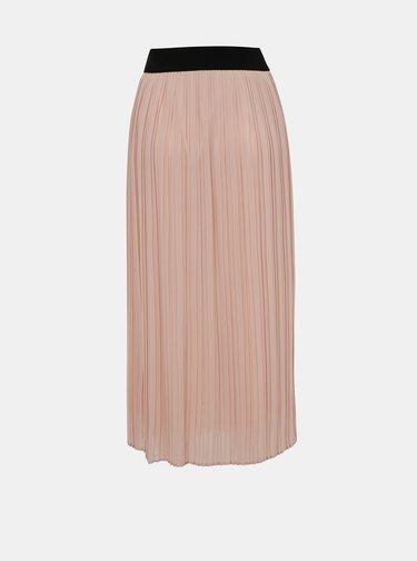 Světle růžová plisovaná midi sukně VILA Tysha