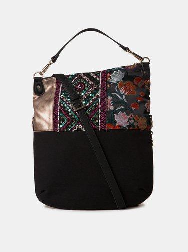 Zeleno-čierna vzorovaná kabelka Desigual Between