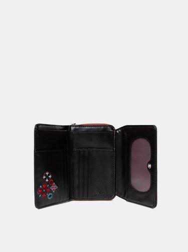 Čierna peňaženka s výšivkou Desigual Nanit