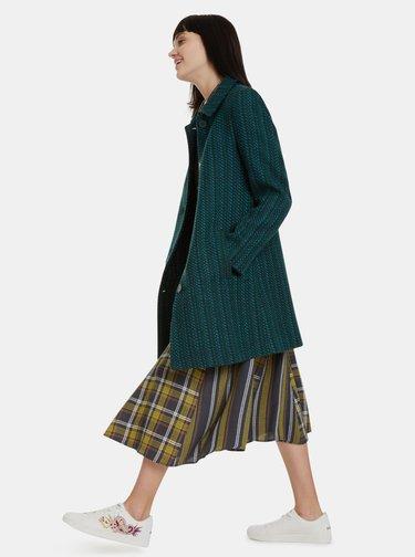Tmavozelený vlnený kabát Desigual Noa