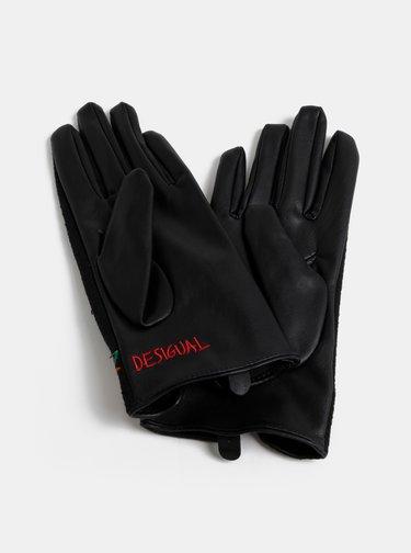Čierne rukavice s výšivkou Desigual