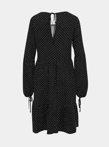 Černé puntíkované šaty s balónovými rukávy Dorothy Perkins Tall