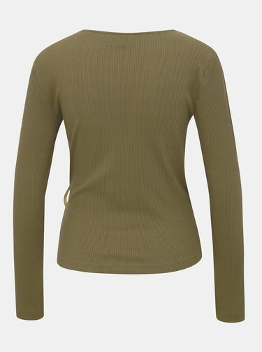 Khaki žebrované tričko ONLY Hannah