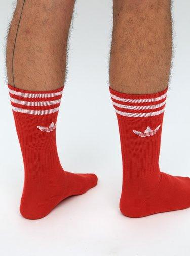 Sada tří párů pánských červených ponožek adidas Originals Crew