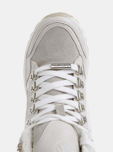 Světle šedé dámské kotníkové zimní boty v semišové úpravě s.Oliver