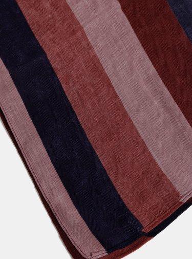 Vínový pruhovaný šátek Dorothy Perkins