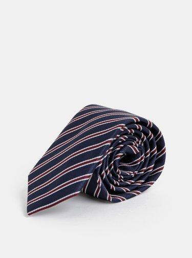 Tmavomodrá pruhovaná slim kravata Selected Homme Martin