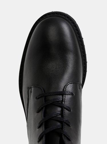 Čierne kožené kotníkové topánky Selected Homme Daniel