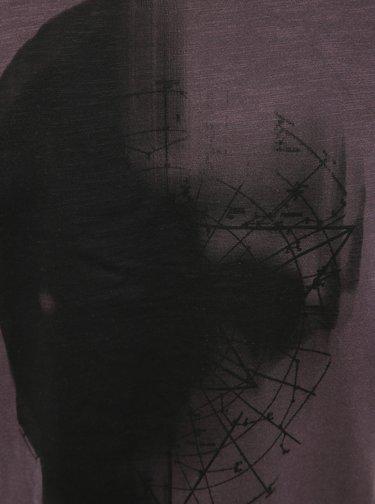 Fialové tričko s potrhanými lemy Jack & Jones Wight
