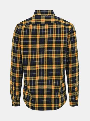 Modro-oranžová kostkovaná slim fit košile Jack & Jones Jake