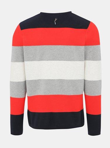 Červeno-šedý pánský pruhovaný svetr Haily´s Finn