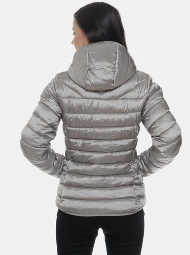 Šedá dámská metalická prošívaná zimní bunda SAM 73