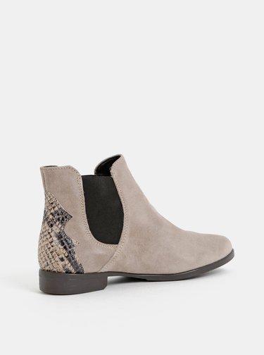 Šedé semišové chelsea topánky s hadím vzorom Tamaris