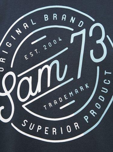 Tmavomodré pánske tričko s potlačou SAM 73