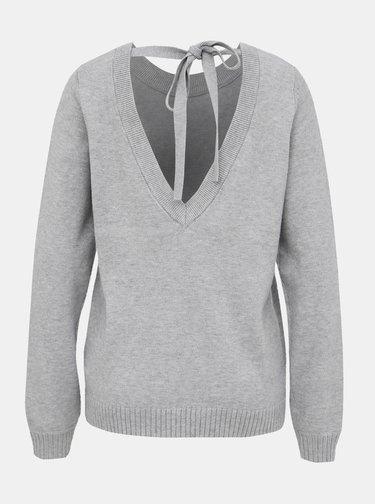 Světle šedý svetr s výstřihem na zádech VILA Ril