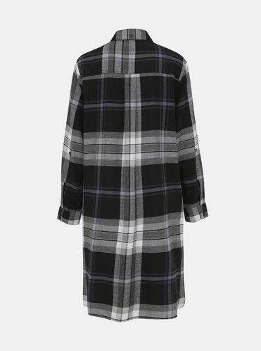 Šedá kostkovaná flanelová noční košile DKNY