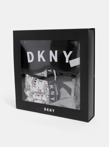 Sada dvoudílného pyžama a škrabošky v bílo-šedé barvě DKNY