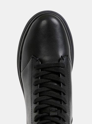 Čierne dámske kožené kotníkové zimné topánky na platforme Geox Phaolae
