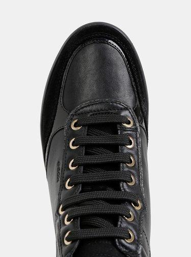 Čierne dámske kožené kotníkové tenisky Geox Tahina