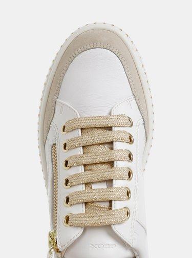 Biele dámske kožené tenisky s detailmi v zlatej farbe Geox Leelu