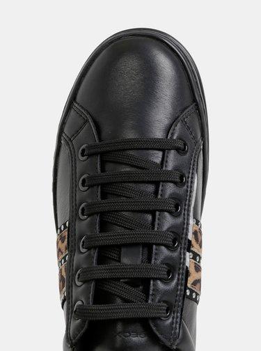 Čierne dámske kožené tenisky Geox Pontoise