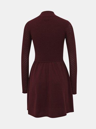 Vínové svetrové šaty s krajkovými rukávmi ONLY Jess
