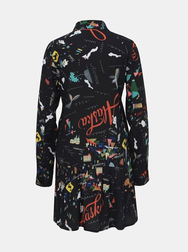 Tmavomodré vzorované košeľové šaty Femi Stories Salar
