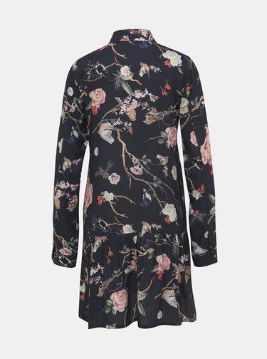 Tmavomodré kvetované košeľové šaty Femi Stories Salar