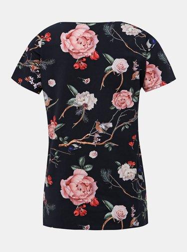 Tmavomodré kvetované tričko Femi Stories Nila