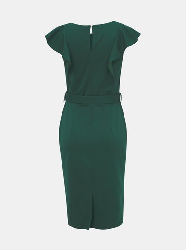 Tmavozelené púzdrové šaty s volánmi Dorothy Perkins