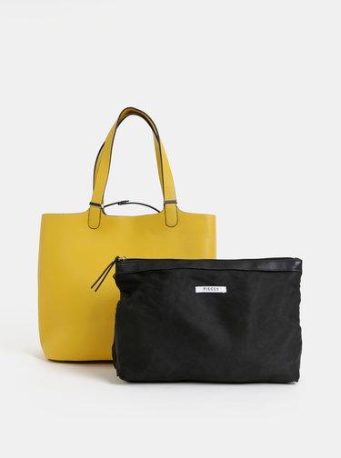 Žltý shopper s odnímatelným vnútorným púzdrom Pieces Kopa