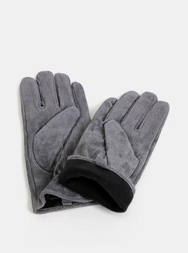 Šedé semišové rukavice Pieces Comet