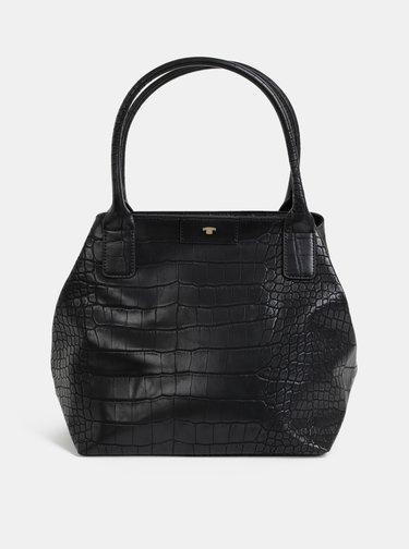 Čierna kabelka s krokodýlím vzorom Tom Tailor Miri