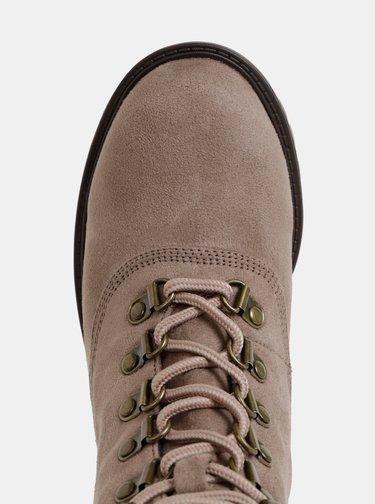 Béžové kotníkové topánky v semišovej úprave s umelým kožúškom Dorothy Perkins