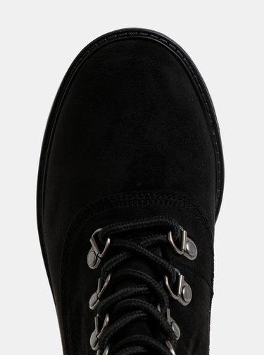 Čierne kotníkové topánky v semišovej úprave s umelým kožúškom Dorothy Perkins