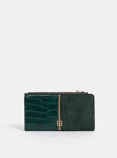 Tmavozelená peňaženka v semišovej úprave a krokodýlím vzorom Bessie London