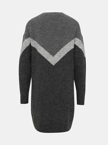 Šedé svetrové šaty s prímesou vlny VERO MODA Luna