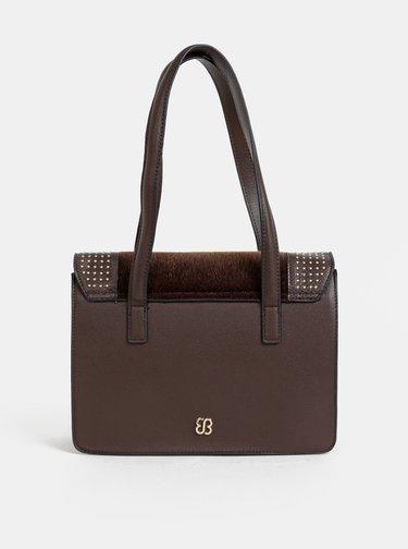 Tmavě hnědá kabelka s umělým kožíškem Bessie London