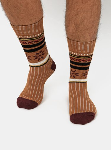 Sada dvoch párov vzorovaných ponožiek v bielej a hnedej farbe Selected Homme Flake