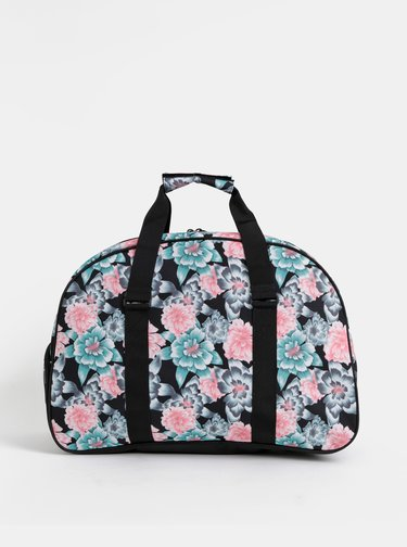 Černá květovaná sportovní taška Roxy Feel Happy