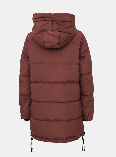 Hnědý zimní prošívaný kabát se zipy na bocích VERO MODA Oslo