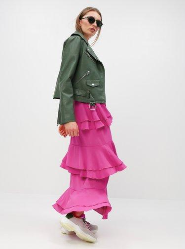 Rochie lunga roz cu volane si bretele ajustabile - MISSGUIDED