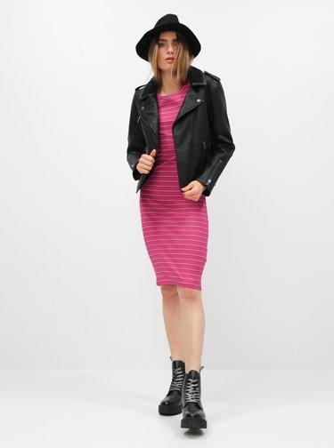Čierna zimná koženková bunda s vnútorným umelým kožúškom ONLY Taylor