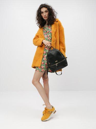Hořčicový kabát s příměsí vlny ONLY Nina