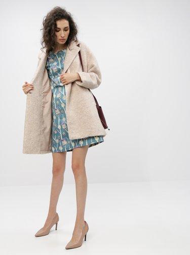 Béžový kabát s prímesou vlny ONLY Nina