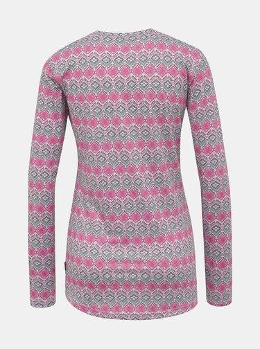 Růžovo-šedé dámské vzorované termo tričko LOAP Parida